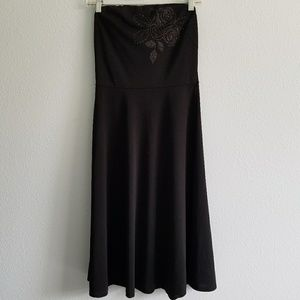 90's Vintage Express Strapless Midi Black Dress